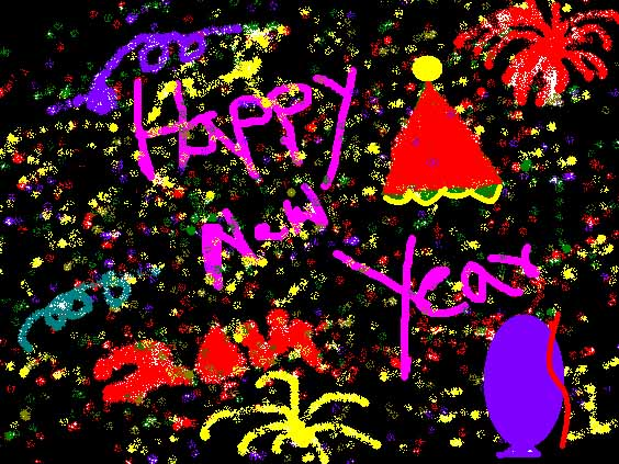 happy new year card made by my kids